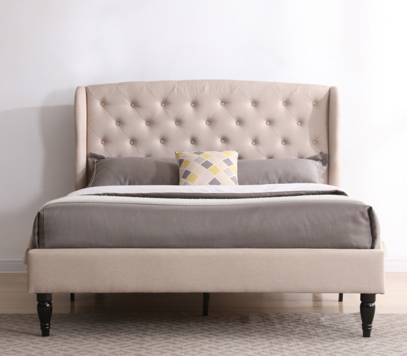 Coventry Upholstered Platform Bed Headboard And Metal Frame With Wood Slat Support