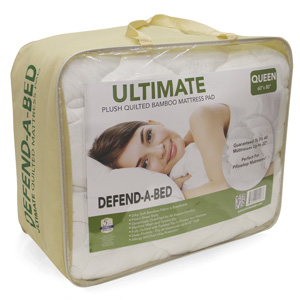 Classic Brands Defend-A-Bed Ultimate Extra Plush Double Thick Bamboo-Rayon Fitted Waterproof Mattress Topper