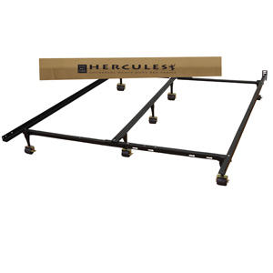 Hercules Universal Heavy Duty Adjustable Metal Bed Frame With Double Rail  Center Bar And 7